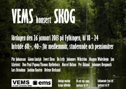 Affisch till konserten SKOG